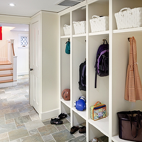 LDa Architects - laundry/mud rooms - mud room, storage, built-ins, white, baskets, shoe, storage, lockers, basement mudroom, mudroom, mudroom design, mudroom cabinets, mudroom storage, mudroom lockers, mudroom open lockers, mudroom locker cabinets, mudroom cubbies, mudroom hooks, mud room, mud room designs,