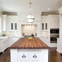 Oakley Home Builders - kitchens - butcher block, kitchen island, countertop, white, glass-front, kitchen cabinets, white, carrara, marble, tiles, backsplash, farmhouse sink, butcher block, butcher block countertops, butcher block kitchen island, butcher block island, , Restoration Hardware Clemson Pendant,