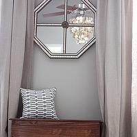 House Tweaking - bedrooms - gray, walls, Ballard Designs, octagon, mirrored, tiled, mirror, jute, rug, gray, blue, geometric, pillow, bench, gray walls, gray paint, gray paint colors, gray walls, grey walls, gray paint, grey paint, gray paint color, grey paint color, gray wall paint, grey wall paint, gray living room walls, grey living room walls, gray living room paint, grey living room paint, gray living room paint color, grey living room paint color, Ikea AINA Curtains,