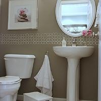 House Tweaking - bathrooms - Valspar - Magic Spell - gray, taupe, walls, white, pedestal, sink, white, oval, mirror, white, rug, pink, accents, taupe paint, taupe paint colors, taupe paint color, taupe walls,