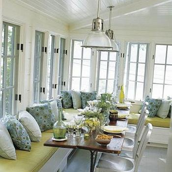 porches - porch, enclosed porch, beadboard ceiling, beadboard sloped ceiling, built in banquette,  inspiration photo of all white