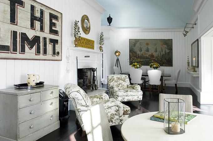 living rooms - Blue ceilings beadboard dark floors  Courtesy of House of Turquoise