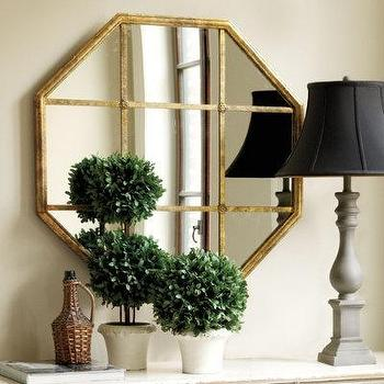 Rosette Mirror, Metal Frame, Octagonal Mirrors