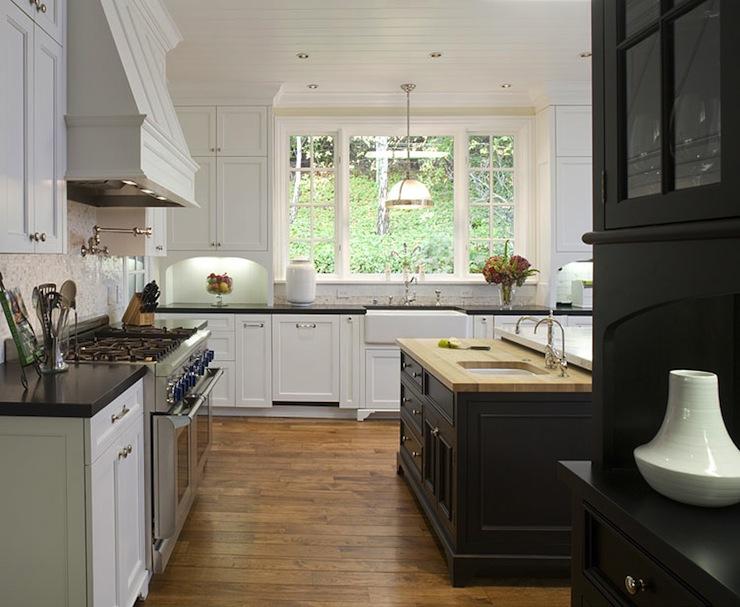 Black Kitchen Island Transitional Kitchen Amoroso Design