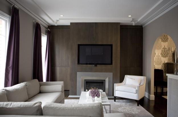 Wood Paneled Fireplace - Contemporary - living room - Amoroso Design