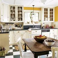 kitchens - black, white, yellow, kitchen,  black and white and yellow!