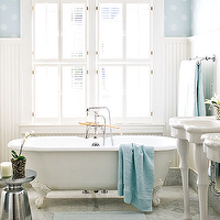 My Home Ideas - bathrooms - white, beadboard, plantation shutters, claw foot tub, white, pedestal, sink, mirrors, polished chrome, modern, stool, blue, wallpaper, pedestal sink, parisian sink, parisian pedestal sink,