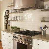 Amoroso Design - kitchens - barrel, stainless steel, kitchen hood, ivory, kitchen, cabinets, granite, countertops, stainless steel, floating shelves, subway tiles, backsplash, grant beige, stainless steel shelves, stainless steel floating shelves, floating shelves, floating kitchen shelves, floating stainless steel shelves, floating stainless steel kitchen shelves, floating stainless steel shelves kitchen, Benjamin Moore Decorators White,
