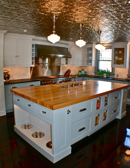 Tin ceiling tiles in kitchen