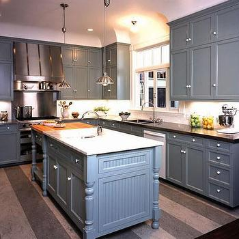 Gast Architects - kitchens - kitchen island, butcher block, countertop, rug, gray rug, gray kitchen rug, blue gray cabinets, blue gray kitchen cabinets, beadboard kitchen island, kitchen island with beadboard trim,