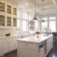Gast Architects - kitchens - white, glass-front, kitchen cabinets, subway tiles, backsplash, calcutta, gold, marble, countertops, white, kitchen siland, microwave, built-in, banquette, bench, white, gray, striped, cushions, yoke, pendants, Restoration Hardware Harmon Pendant,