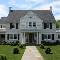 Alisberg Parker Architects - home exteriors - colonial, black, shutters, Greek, columns, wraparound deck, gray, shingles,  Gorgeous colonial