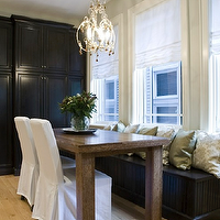 Inspired Interiors - dining rooms - glossy, black, cabinets, built-in, beadboard, bench, green, silk, damask, pillows, white, slipcovered, dining chairs, modern, walnut, dining table, gray, blue, walls,