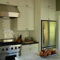 Boor Bridges Architecture - kitchens - cream cabinets, cream kitchen cabinets, cream shaker cabinets, cream shaker kitchen cabinets, cream subway tile, cream subway tile backsplash, 2 tone countertops,