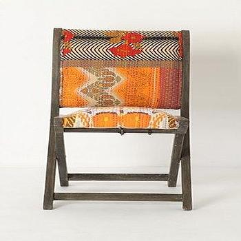 Seating - Terai Folding Chair, Orange Ikat  - Anthropologie.com - orange, ikat, folding chair