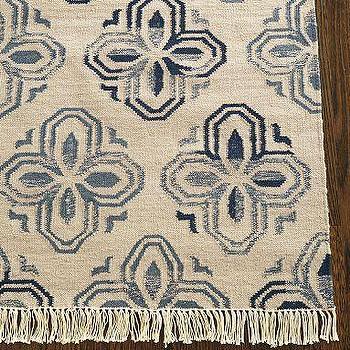 Rugs - Alhambra Tile Dhurrie Rug | Pottery Barn - blue, tile, dhurrie, rug