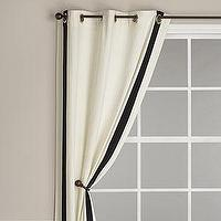 Window Treatments - Ribbon Trim Panel with Grommet Top, Ivory with Black Trim - Curtains - Cost Plus World Market - black and white curtains,