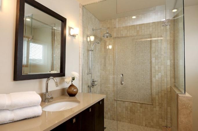 Taupe quartz countertop contemporary bathroom for Tumbled marble bathroom designs