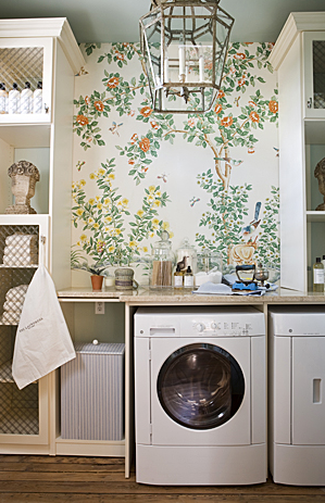 laundry/mud rooms - wallpaper, lantern, white, washer, dryer, cabinets,  Draza Stamenich   whimsical bathroom design with yellow orange green