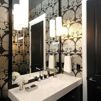 Atmosphere Interior Design - bathrooms - powder room, chic powder room, powder room wallpaper, black and white wallpaper, black mirror, black and white washstand, Osborne & Little Wilde Carnation Wallpaper,