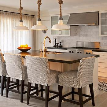 DeCesare Design Group - kitchens - kitchen pendants, counter stools, slipcovered counter stools, slipcovered bar stools, slipcovered barstools, white barn pendants, vintage barn pendants, rope barn pendants,