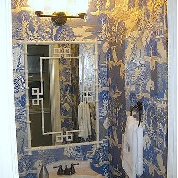 Odi et Amo - bathrooms - Chinoiserie, blue, toile, wallpaper, white, faux bamboo, Greek key, mirror, white, pedestal sink, greek key, greek key mirror, white greek key mirror, summer palace wallpaper, chinoiserie wallpaper, small powder room, powder room wallpaper,