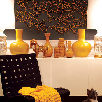 Graham Moss - entrances/foyers - yellow vase, mustard yellow vase, black chair, yellow throw, Knoll Rison Lounge Chair,  Black & mustard yellow