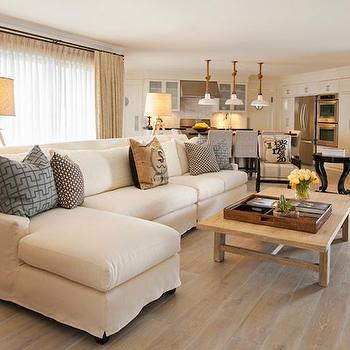 Slipcovered Sectional, Cottage, living room, DeCesare Design Group