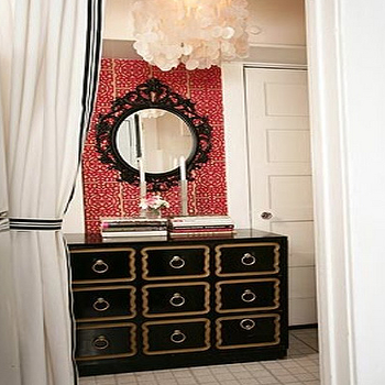 Turquoise LA - dens/libraries/offices - dorothy draper, dorothy draper chest, ikea mirror,  Red & black foyer entrance design with red fretwork