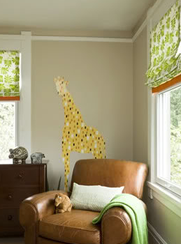Sally Steponkus Interiors - boy's rooms - giraffe wall mural, giraffe wall sticker, club chair, leather club chair,  Adorable boy's room design