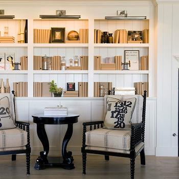 DeCesare Design Group - dens/libraries/offices - built-ins, built-in cabinets, office built-ins, office built in cabinets, white built-ins, white built-in cabinets, built-in bookcases, office bookcase, fireplace built-ins, fireplace built ins, fireplace built in bookcase, fireplace built in bookshelves, floor to ceiling built-ins, floor to ceiling built-in cabinets, built in bookshelves, bookshelves, vintage grain sack chairs, picture lights, french grain sack chairs,