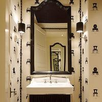 DeCesare Design Group - bathrooms - chaises de ginger, chaises de ginger wallpaper, chairs wallpaper, black mirror, powder room wallpaper, black arch mirror, arched mirror, black arched mirror,