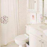 Sally Steponkus Interiors - bathrooms - monogrammed, shower curtain, monogrammed shower curtain, white and pink shower curtain, white and pink monogrammed shower curtain, pink monogrammed shower curtain,