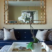 Sally Steponkus Interiors - living rooms - orchid, blue, sofa, white piping, gold, walls, gold, faux bamboo, mirror, white, black, Greek key, pillows, white, blue, green, floral, upholstered, ottoman, glossy, white, mirrored, tray, orchid, faux bamboo mirror, bamboo mirror, gold faux bamboo mirror, gold bamboo mirror,