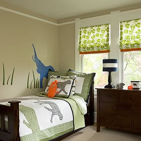 Sally Steponkus Interiors - boy&#039;s rooms - tan, walls, green, animal, quilt, espresso, bed, dresser, green, roman shade, orange, trim, blue, elephant, wall, art,