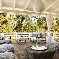 Kristen Hutchins Design - decks/patios - cocktail table, covered deck, covered patio, seagrass ottoman,  Gorgeous covered deck patio design with