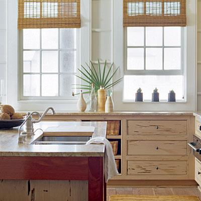 Distressed kitchen cabinets cottage kitchen coastal for Beachy kitchen cabinets