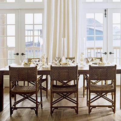 Wicker Deck Furniture on Beachy Dining Room With Rattan Chairs  Simple Farmhouse Table  Rustic