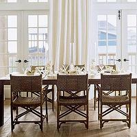 Coastal Living - dining rooms - rattan dining chairs, french doors, beach house, rustic, linen, coastal kitchen,  Beachy dining room with rattan