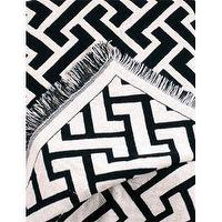 Bedding - Simply Home Black Herringbone Zigzag Eco2Cotton Afghan Throw Blanket 50 - white, black, zig zag, throw