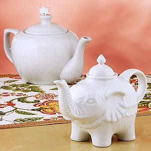 Decor/Accessories - White Ceramic Teapots - Teapots and Tea Kettles - Cost Plus World Market - elephant, ceramic, tea