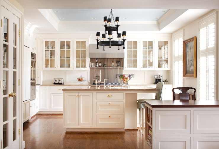 Blue Ceiling Transitional Kitchen Ralph Lauren Lisbon Blue Moloney Sm