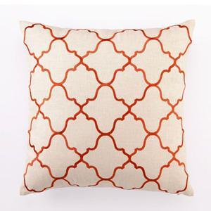 Pillows - Moroccan Tile Linen Pillow in Orange Modern Chic Home - moroccan tiles, orange, pillow