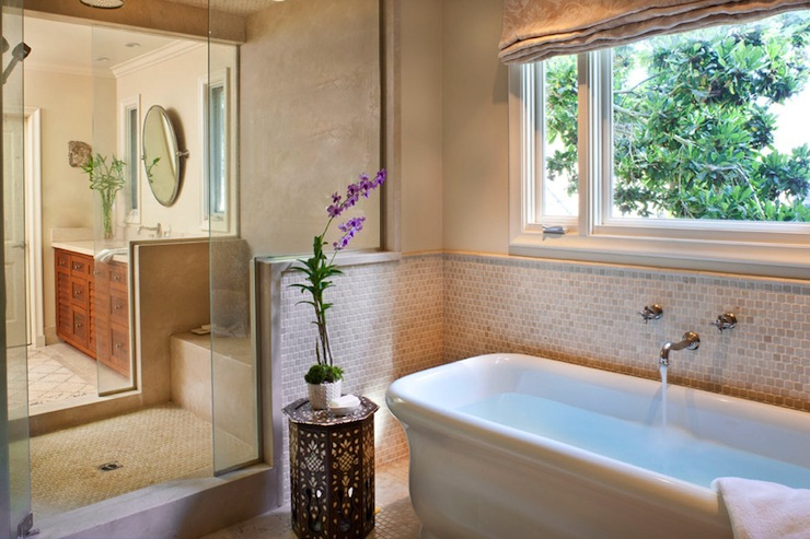 bathrooms - damask roman shade tumbled marble backsplash soaking tub Moroccan accent table shower  Natasha Baradaran  Lovely zen spa bathroom