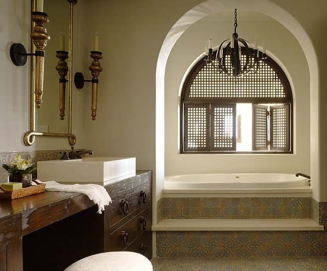 Moroccan Bathroom Mediterranean Bathroom Kara Mann