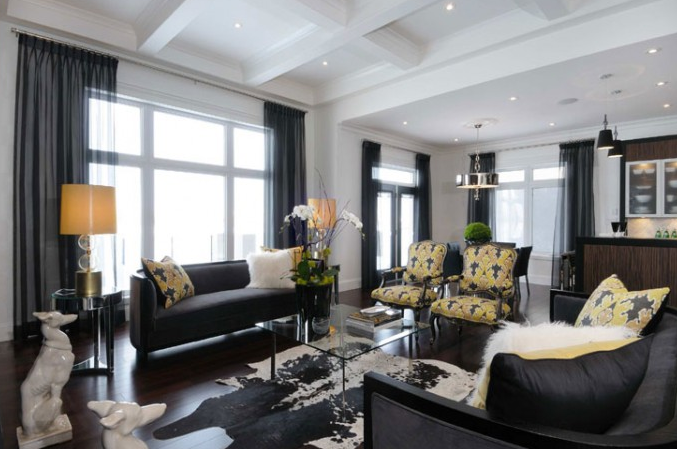 Yellow and black living room contemporary living room - Black and yellow room ideas ...