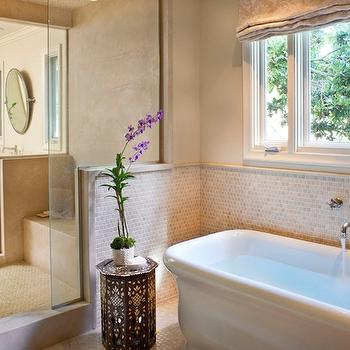 Natasha Baradaran - bathrooms - soaking tub, Moroccan accent table, shower, zen, zen bathroom, zen bathrooms, Roman Bathtub,  Lovely zen spa