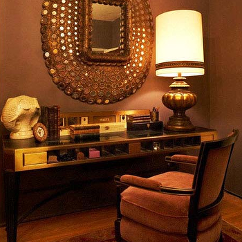 Kishani Perera - dens/libraries/offices - mirrored desk, peacock mirror, velvet desk chair, oval peacock mirror, Peacock Mirror,  Chic coral
