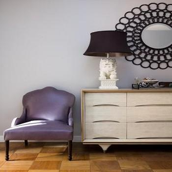 Scout Designs NYC - entrances/foyers - purple chair, purple accent chair, foo dog lamp, white foo dog lamp, parquet wood floors, Foo Dog Lamp, Iron Ring Starburst Wall Mirror,