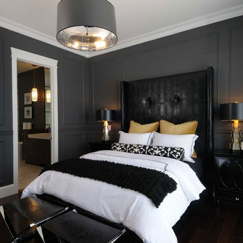 Black Leather Headboard, Contemporary, bedroom, Atmosphere Interior Design